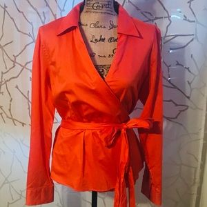 RALPH LAUREN ORANGE WRAP BLOUSE